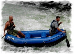 Inflatable Raft On Whitewater River Run.