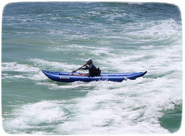 Saturn Inflatable Ocean Kayak taking on big waves!
