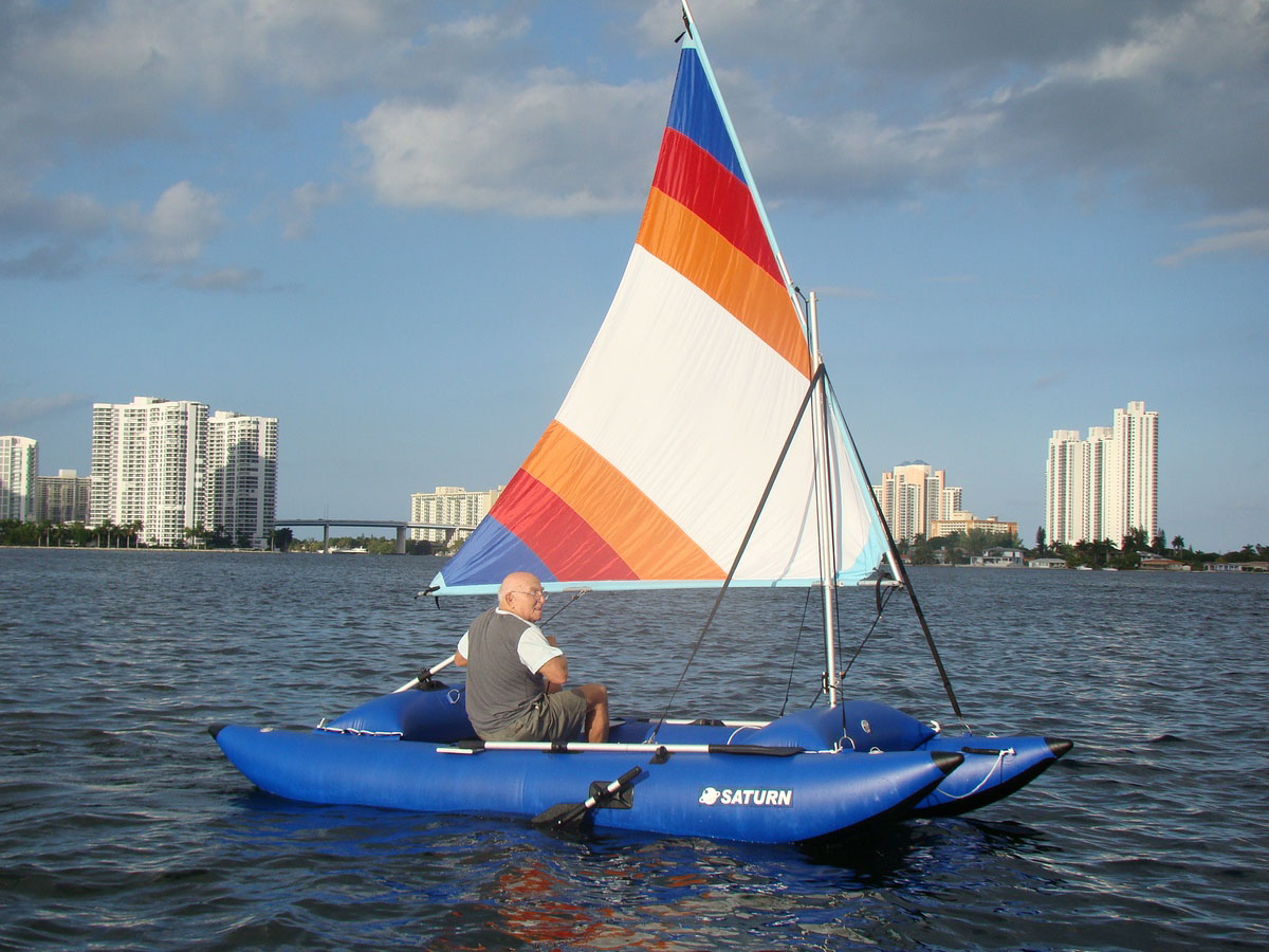 14 Inflatable Sail Catamaran Portable Sail Boat In A Bag